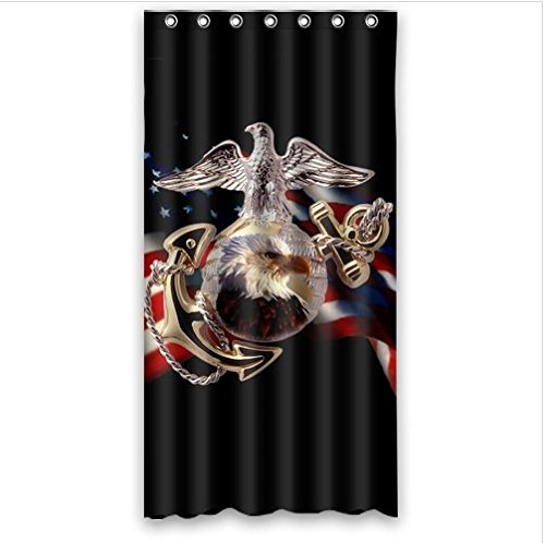 Personalized Cool United States Marine Corps USMC Pattern Waterproof Mouldproof Bathroom 100 Polyester Shower Curtain 36Wx72Hinchs