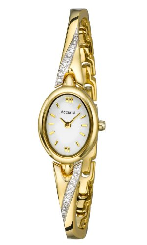 Accurist Women's Quartz Watch with White Dial Analogue Display and Gold Bangle LB1646W