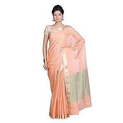 Indian Artizans Orange Cotton Silk Maheshwari Saree