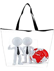 Snoogg Business People Standing In Front Of The Globe Business Concept Waterproof Bag Made Of High Strength Nylon