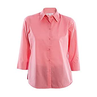 Foxcroft wrinkle free cvc poplin 3 4 sleeve shirt shaped Wrinkle free shirts for women
