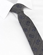 Limited Collection Wool Blend Embroidered Paisley Textured Tie