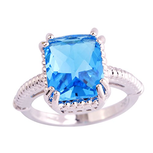 [Psiroy 925 Sterling Silver Dainty 3ct Emerald Cut Blue Topaz Twisted Filled Ring for Woman] (Good Guy Duo Costumes)
