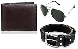 Rico Sordi leather wallet with sunglass & Belt(design-7) (Black) - RSM_39_41_WSGB
