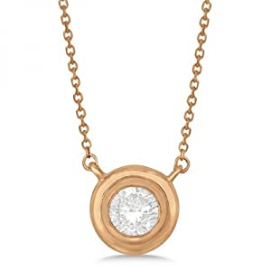 Allurez Women's Round Cut Bezel Set Diamond Solitaire Pendant In 14K (0.50 Carat) Rose Gold