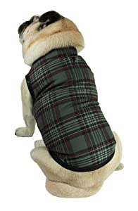 Sophisticated Pup Waterproof Action Dog Vest, Large, Gray Plaid