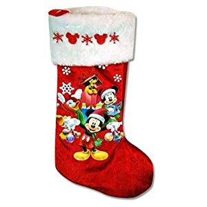 "Mickey & Minnie 16"" Velour Stocking with Embroidery on Cuff"