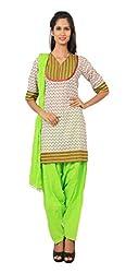 Rama Suit Set of Pink Color Green Buti Printed V Neck 3/4 Sleeve Women Kurti & Lime Green Color Patiyala & Duppatta