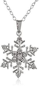 DiAura Sterling Silver Diamond-Accent Snowflake Pendant Necklace