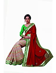 Sareez Off White & Red Color Manipuri Silk With Cotton Saree.