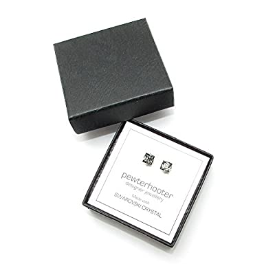 Men's Silver Stud Earrings Made With Square Black Diamond Swarovski Crystal. High Quality. Low Prices.