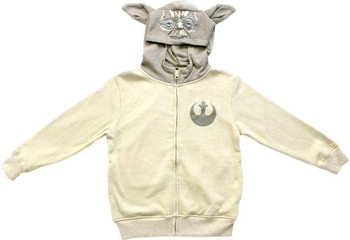 Star Wars Boys Yoda Sand Zip Up Costume Hoodie Sweatshirt (Boys 5/6)