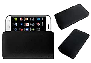 Acm Rich Leather Soft Case For Celkon A64 Mobile Handpouch Cover Carry Black
