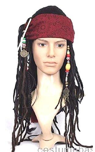 Exact WIG w/ Bandana Dreadlock DLX Jack Sparrow Costume (Jack Sparrow Wig compare prices)