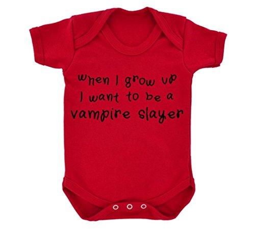 When I Grow Up I Want To Be A Vampire Slayer Design Body per neonato, colore: rosso/nero rosso 6-12 Mesi