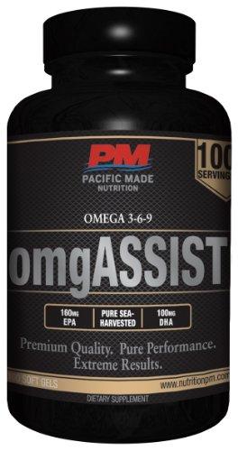 Omgassist Omega 3-6-9 / 100% Pure Sea-Harvested Pelagic Fish Oil / 100 Servings (Capsules)
