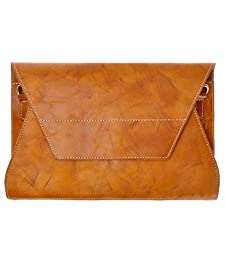 ZLYC Women Handmade Genuine Grain Cow Leather Statement Envelope Clutch Shoulder Bag, Brown