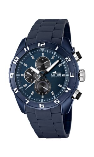Lotus Men's Quartz Watch with Blue Dial Chronograph Display and Blue Rubber Strap 15842/2