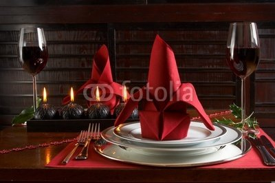 Wallmonkeys Peel and Stick Wall Decals - Christmas Dinner Table with Red Accents of Placemats and Napkins - 18