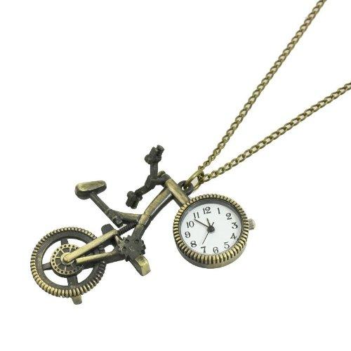 SODIAL(R) Orologio collana ciondolo bicicletta in metalo tono bronzo per donna