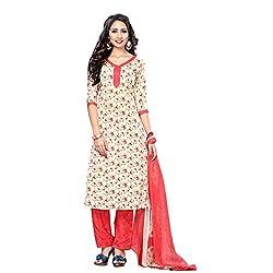 Triveni Women's Crape Salwar Kameez Dress Material (TSHCSSK6756D_Beige)