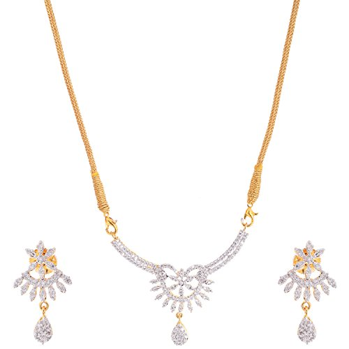 Bharat Sales Gold Plated White Alloy Necklace Set For Women - B00YPASWVA
