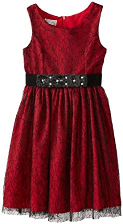 Pippa & Julie Big Girls' Tank Dress with Lace Overlay, Red, 10
