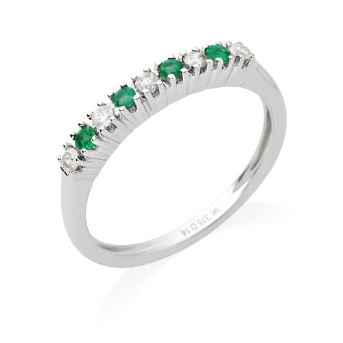 Eternity Ring, 9ct White Gold, Diamond and Emerald Eternity Ring, Size Q, by Miore, JM030R1WR