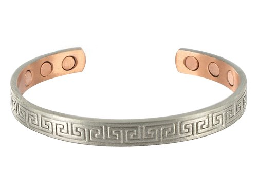 Silver Tone 8 MM Wide Copper Magnetic Cuff Bracelet