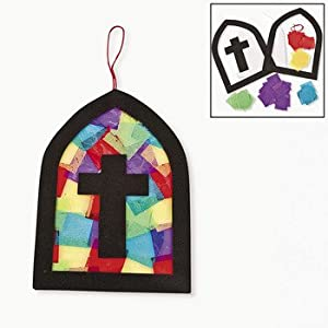 Tissue paper cross stained glass window craft for Stained glass window craft with tissue paper