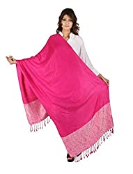 Figaro Pink & White Viscose Woven Women's Shawl