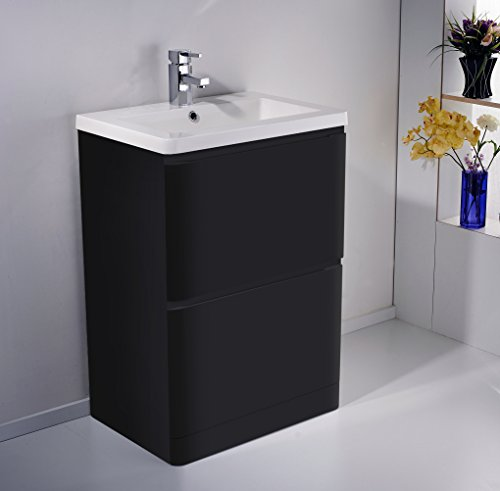 Stunning FLOOR STANDING MDF BLACK GLOSS BATHROOM VANITY UNIT DRAWER