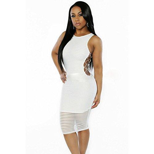 meinice Dress a coste Crisscross lati vestito White Small