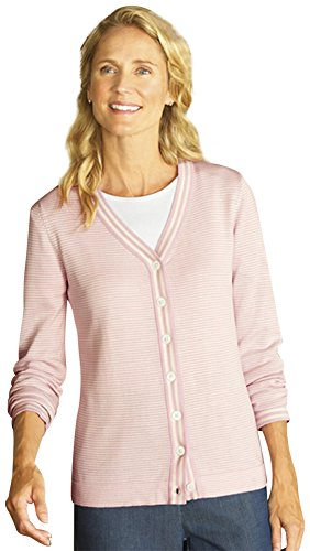 Orvis Pink-stripe V-neck Cardigan Sweater / Pink-stripe V-neck Cardigan, Small