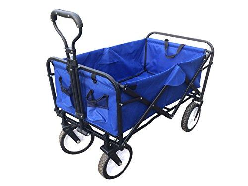 ABO Gear Collapsible Folding Utility Wagon Garden Cart Shopping Buggy Yard  Beach Cart Blue