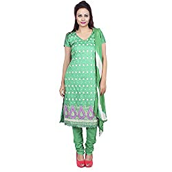 Raahi Green Cotton Embroidered Unstitched Dress Material