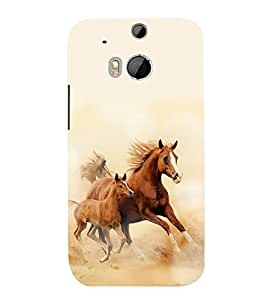 printtech Horse Racing Nature Scenery Back Case Cover for HTC One M8 / HTC M8