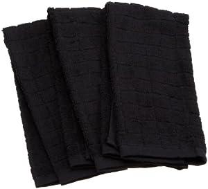 Excello Terry Towel, Black, Set of 3