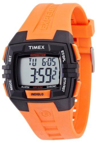 Timex Men'S T49902 Expedition Rugged Wide Digital Chrono Alarm Timer Black Case Orange Resin Strap Watch
