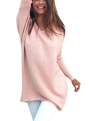 Ezcosplay Women's Autumn Loose Casual Long Sleeve Solid Shirt Tops Thin Sweater