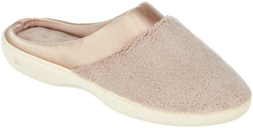 isotoner-womens-microterry-pillowstep-satin-cuff-clog-slippers-taupe-85-9-bm-us
