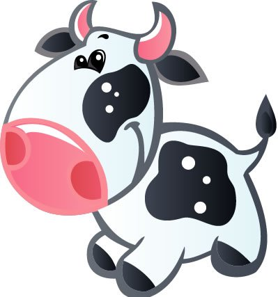Children'S Wall Decals - Bluish White Cow With Pink Horns, Black Spots, Pink Nose - 12 Inch Removable Graphic
