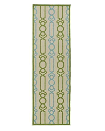 """Kaleen Five Seasons Indoor/Outdoor Rug, Green, 2' 6"""" x 7' 10"""" Runner"""