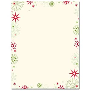 .com : Red & Green Snowflakes Border Christmas Holiday Printer Paper ...