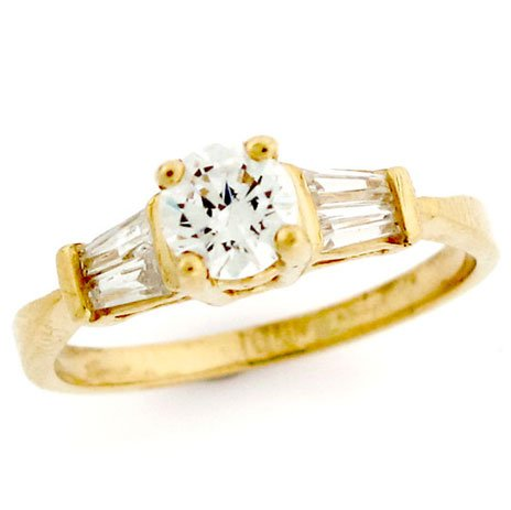 10K Gold Round Center CZ Stone Baguette Promise Ring