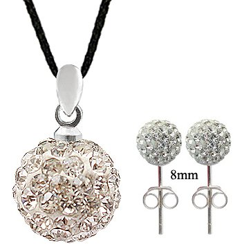 Silver 14MM Swarovski crystal Ball Necklace and Earrings set - Clear color - Crystal bling bling!! - comes with adjustable size 16