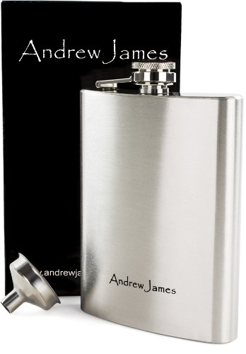 Andrew James Designer 8oz Hip Flask With Funnel - High Quality Grade 304 Brushed Stainless Steel