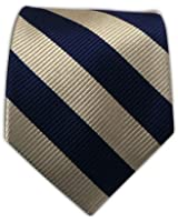 100% Silk Woven Navy and Light Champagne Striped Tie