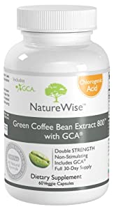 Green Coffee Bean Extract 800 with GCA - 100% Pure All Natural Weight Loss Supplement (60 Caps)