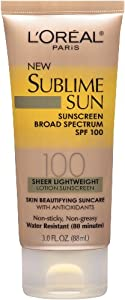 L'Oreal Paris New Sublime Sunscreen Board Spectrum Sheer Lightweight SPF 100